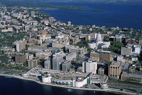 Downtown Madison and UW campus